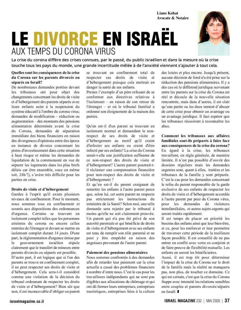 divorce corona Israel